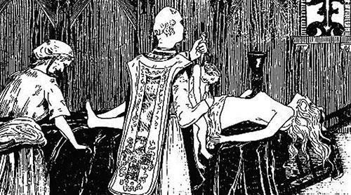 Marquise de Montespan au cours d'une messe noire