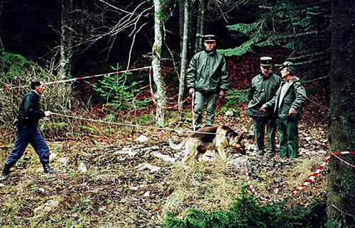 Gendarmes dans la clairière du plateau du Vercors recherches victimes temple solaire