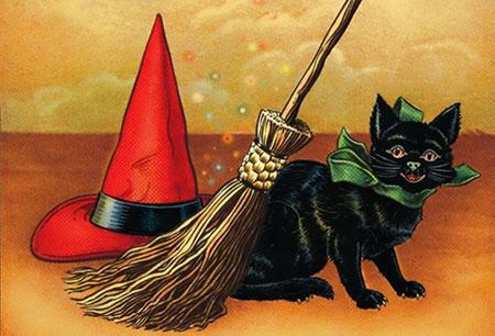 Panoplie de sorcière: chat noir, chapeau, balai