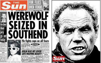Le loup-garou de Southend dans The Sun